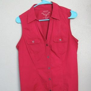 Sanoma Sleeveless Shirt Front Pockets Burgandy